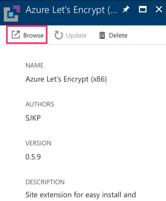 Browse Azure Let's Encrypt Extension's page