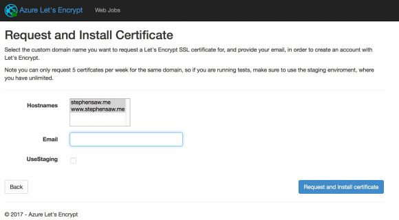 Azure Let's Encrypt request certificate