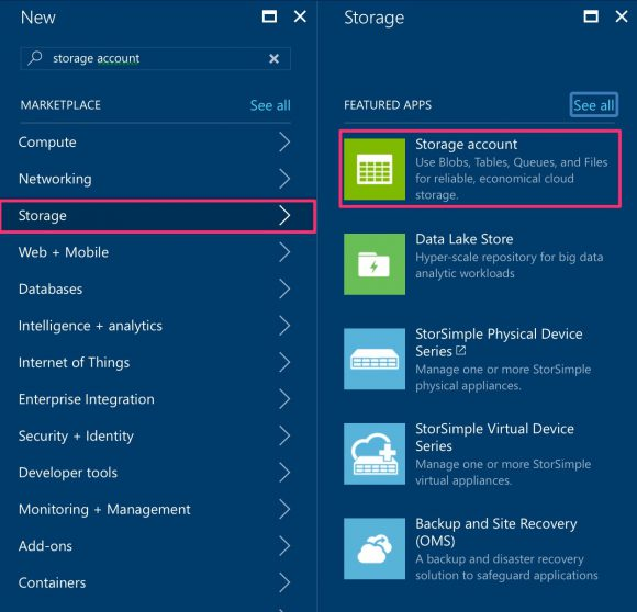 Azure Marketplace Storage Account
